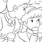דף צביעה אן ודיאנה אוכלות גלידה