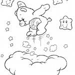 דף צביעה הדובה חייכנית מקפצת על ענן