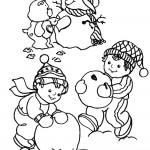 דף צביעה דובוני וילדים בונים איש שלג