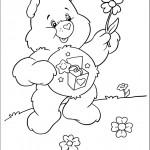 דף צביעה דוב שמח אוחז בפרח