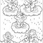 דף צביעה גשם יורד על דובוני אכפת לי