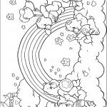 דף צביעה דובונים חוגגים ליד הקשת בענן
