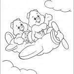 דף צביעה הדובונים טסים בשמיים