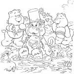 דף צביעה דובונים משתעשעים במים