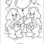 דף צביעה דובונים עם בלונים בצורת לב
