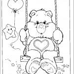 דף צביעה דובוני מתנדנד בנדנדה
