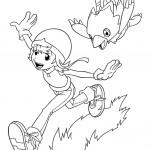 דף צביעה סורה טאקנאצ'י משחקת עם ביומון
