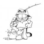 דף צביעה גארפילד יוצא לדוג