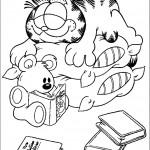 דף צביעה גארפילד והדובון הקורא