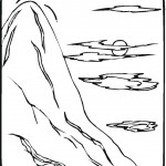 דף צביעה הר נישא מעל לעננים