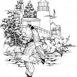 דף צביעה מגדלור ושחפים