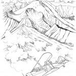 דף צביעה מטוס חג מעל ההרים