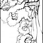 דף צביעה נוף - עצים