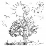דף צביעה עץ נהנה מקרני השמש