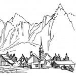 דף צביעה ישוב למרגלות ההר