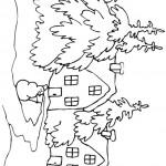 דף צביעה בית ועצים בשלג