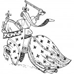 דף צביעה אביר רוכב על סוס מלכותי