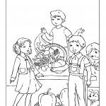 דף צביעה ילדים חוגגים את חג שבועות