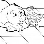 דף צביעה הצב טאק בא לעזרת הכלב