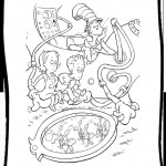 החתול והילדים צופים בנמלים בזכוכית מגדלת