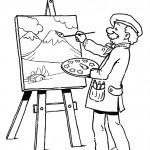 דף צביעה מקצועות - צייר 1