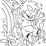 דף צביעה ילד גולש על גלי הים