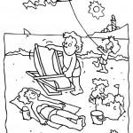 דף צביעה קיץ עם המשפחה בחוף הים