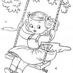דף צביעה ילדה מתנדנדת בנדנדה