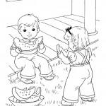 שני ילדים אוכלים אבטיח