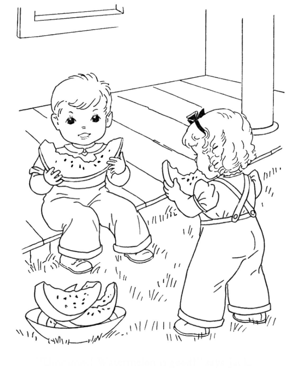 Раскраска летняя дети.  Раскраски Лето.