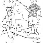 דף צביעה ילדים דגים בים