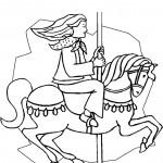 נערה דוהרת בקרוסלת סוסים
