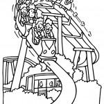 דף צביעה ילדים נהנים ברכבת הרים