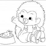 דף צביעה קיפוד משחק עם ברווז