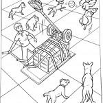 הכלבים משחקים בכדורים הנפלטים מהמכונה