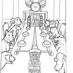 כלבים יושבים סביב לשולחן ומחכים לצלחות האוכל