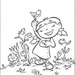 דף צביעה אנני והפרחים
