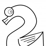 דף צביעה מספר 2 בצורת ברווז