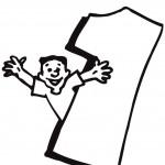 דף צביעה מספר 1 עם ילד הפורש ידיים