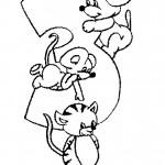 דף צביעה מספר 3 בעיטור בעלי חיים