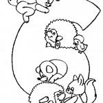 דף צביעה מספר 7 בעיטור בעלי חיים