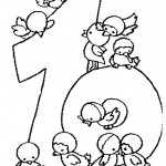 דף צביעה מספר 10 בעיטור אפרוחים
