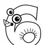 דף צביעה מספר 6 בצורת עיניים ופה
