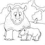 דף צביעה קרנף ואמו