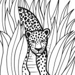 דף צביעה נמר שואט בין השיחים