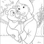 דף צביעה מילאן אוחזת בדובון פנדה מתוק