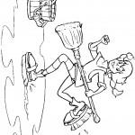 דף צביעה בילבי משתעשעת בשטיפת הרצפה