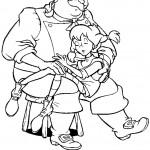 דף צביעה בילבי ישנה בזרועות אביה