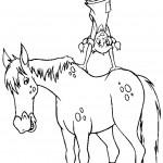 דף צביעה בילבי משתעשעת על גב הסוס