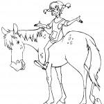 דף צביעה בילבי מאושרת ברכיבה על הסוס